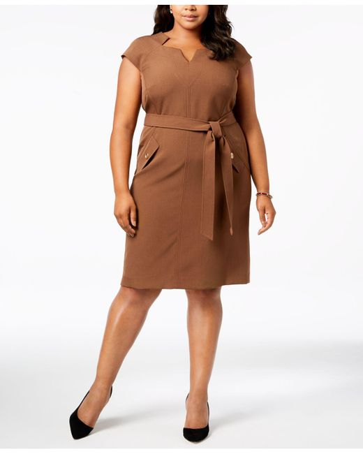 Lyst Kasper Plus Size Belted Sheath Dress In Brown Save
