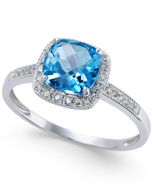 Macy's - Blue Topaz (1-1/2 Ct. T.w.) And Diamond (1/10 Ct. T.w.) Ring In 14k White Gold - Lyst