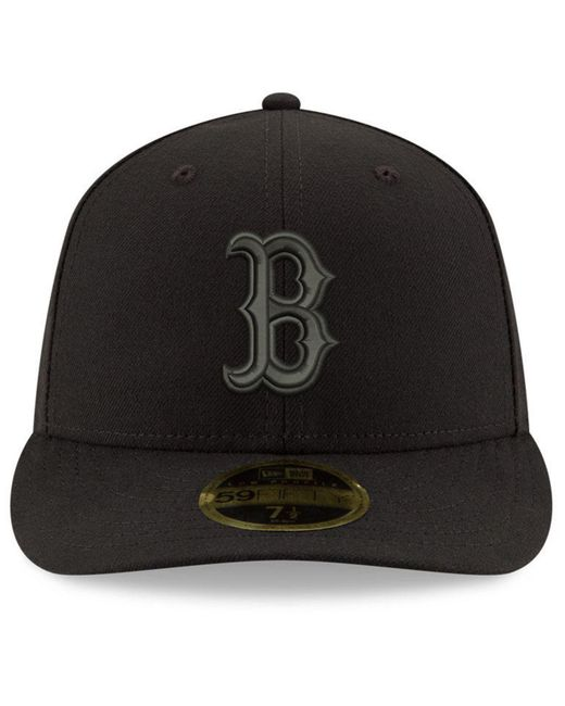 17b317020e8 ... KTZ - Boston Red Sox Triple Black Low Profile 59fifty Fitted Cap for Men  - Lyst ...
