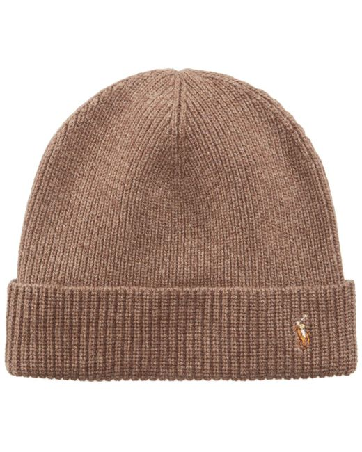 Polo Ralph Lauren - Brown Hat, Wool Signature Cuff for Men - Lyst