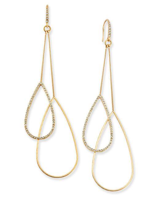ABS By Allen Schwartz | Metallic Gold-tone Double-teardrop Earrings | Lyst