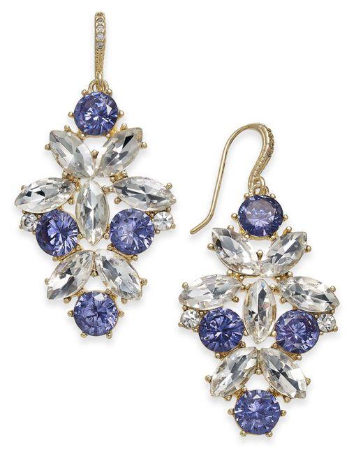 Charter Club | Metallic Gold-tone Blue & Clear Crystal Drop Earrings | Lyst