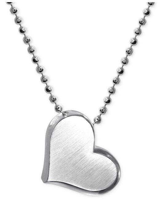 Alex Woo   Metallic Heart Pendant Necklace In Sterling Silver   Lyst