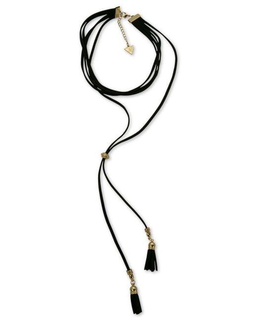 Guess - Black Gold-tone Jet Imitation Suede Tassel Choker Necklace - Lyst
