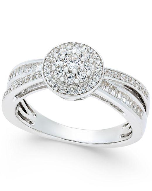 Macy's | Metallic Diamond Modern-style Ring (1/2 Ct. T.w.) In Sterling Silver | Lyst