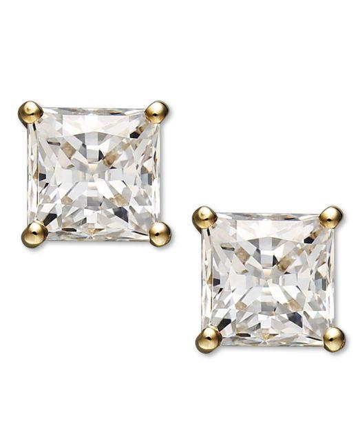 Arabella - Metallic 14k Gold Earrings, Swarovski Zirconia Princess Cut Stud Earrings (2-3/4 Ct. T.w.) - Lyst