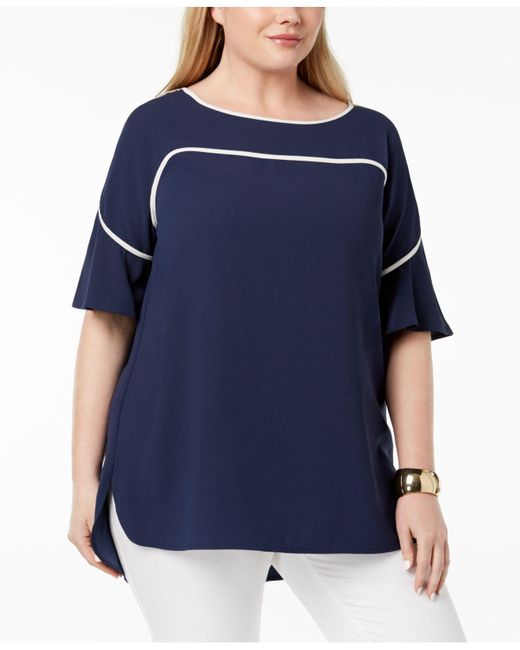 Alfani - Blue Plus Size Piping-trim Top, Created For Macy's - Lyst