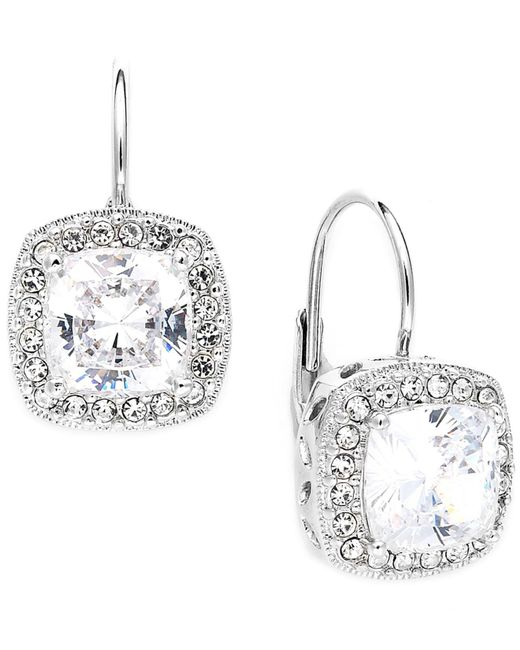 Danori - Metallic Earrings, Silver-tone Framed Cushion Cut Cubic Zirconia Leverback Earrings (6 Ct. T.w.) - Lyst