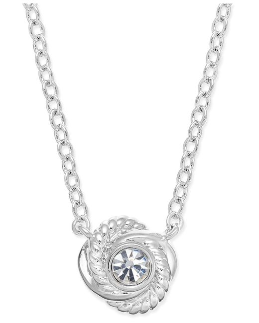Kate Spade - Metallic Silver-tone Mini Crystal Knot Necklace - Lyst