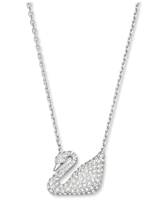 Swarovski - Metallic Gold-tone Crystal Swan Pendant Necklace - Lyst
