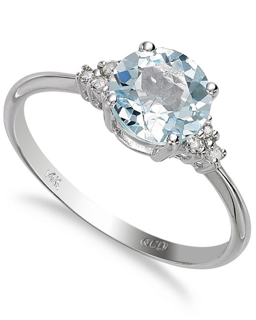 Macy's - Metallic 14k White Gold Aquamarine (1 Ct. T.w.) And Diamond Accent Ring - Lyst