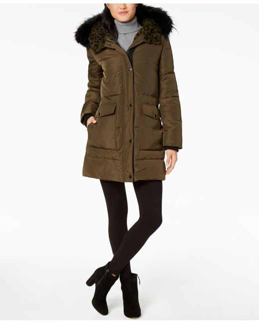Kenneth Cole | Multicolor Faux Faux-leopard-lined Hooded Puffer Coat | Lyst