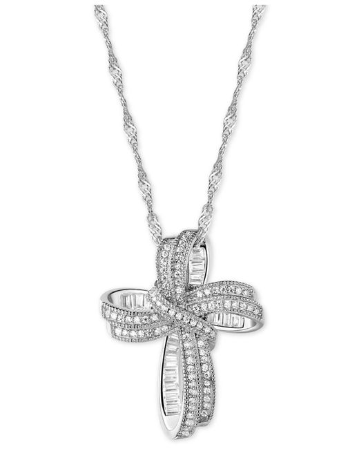 Macy's - Metallic Cubic Zirconia Cross Pendant Necklace In Sterling Silver - Lyst
