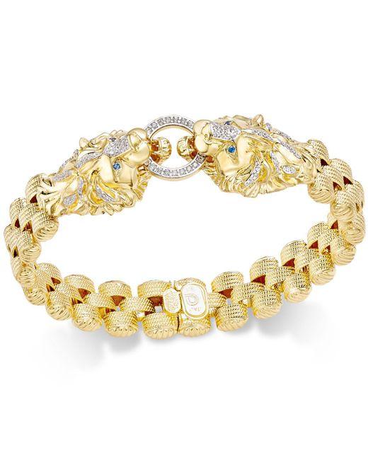 Macy's - Metallic Diamond Lion Link Bracelet (1/2 Ct. T.w.) In 14k Gold-plated Sterling Silver - Lyst