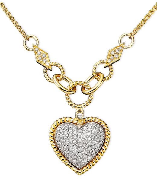 Effy Collection - Metallic Diamond Pavé Diamond Heart Pendant (3/4 Ct. T.w.) In 14k Gold And 14k White Gold - Lyst