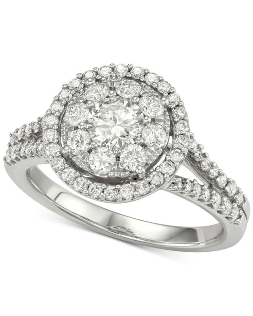 674830a520f Lyst - Macy S Diamond Halo Cluster Engagement Ring (1-1 4 Ct. T.w. ...