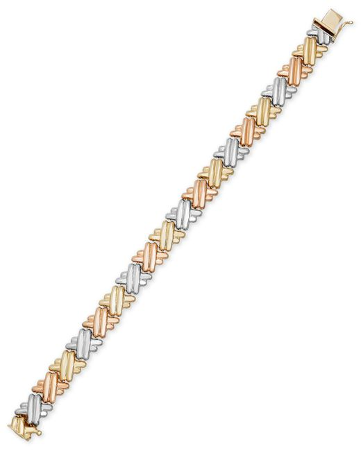 Macy's | Metallic Tri-tone Crisscross Link Bracelet In 14k Gold And Rhodium-plating | Lyst
