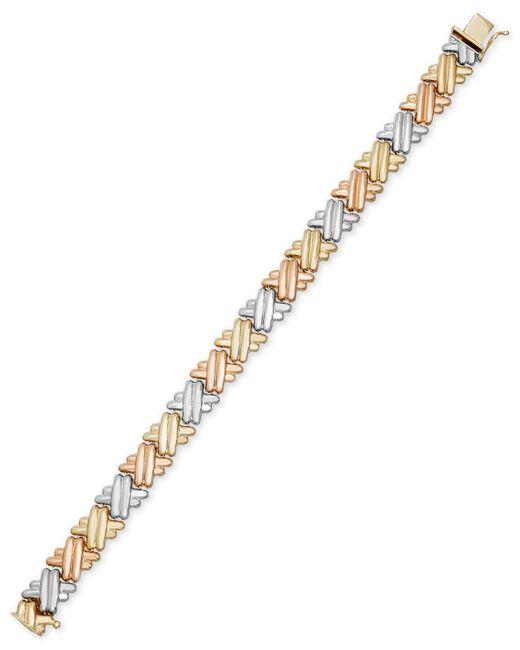 Macy's | Metallic Tri-tone Crisscross Link Bracelet In 14k Gold And Rhodium-plating | Lyst