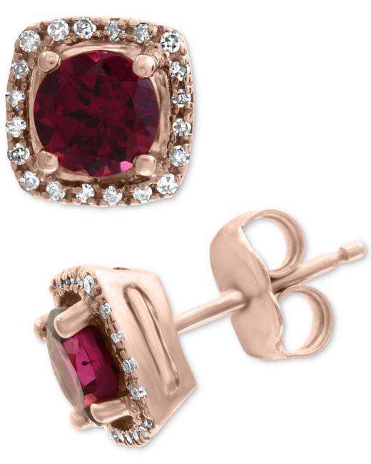 Effy Collection - Pink Effy® Rhodolite (1-1/5 Ct. T.w.) & Diamond (1/8 Ct. T.w.) Stud Earrings In 14k Rose Gold - Lyst