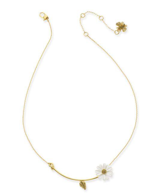 "Kate Spade - Gold-tone White Flower Pendant Necklace, 16"" + 3"" Extender - Lyst"