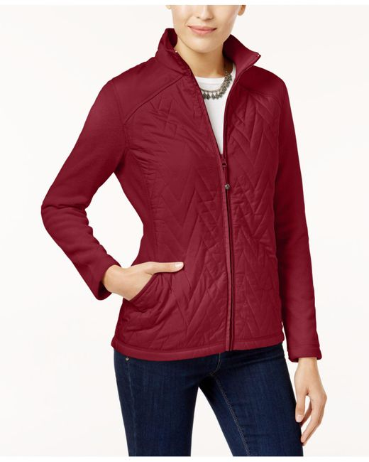 Style & Co. | Red Petite Quilted Fleece Jacket | Lyst