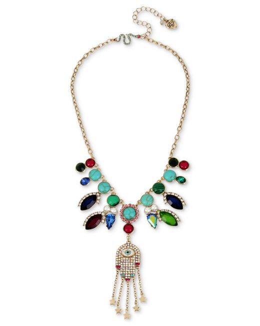 Betsey Johnson | Metallic Gold-tone Stone, Imitation Pearl & Pavé Hamsa Hand Statement Necklace | Lyst