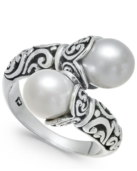Macy's - Metallic Cultured Freshwater Pearl (8-1/2mm) Scrollwork Bypass Ring In Sterling Silver - Lyst