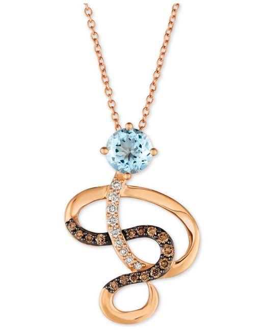 "Le Vian - Metallic ® Sea Blue Aquamarine® (5/8 Ct. T.w.) & Diamond (1/4 Ct. T.w.) Swirl 18"" Pendant Necklace In 14k Rose Gold - Lyst"