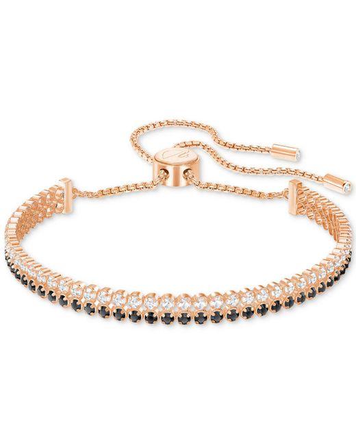 Swarovski - Metallic Rose Gold-tone Clear & Jet Crystal Double-row Slider Bracelet - Lyst