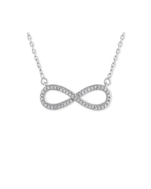 Macy's - Metallic Diamond Infinity Pendant Necklace (1/10 Ct. T.w.) In 10k White Gold - Lyst