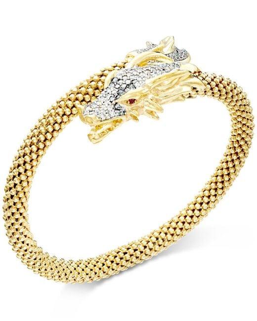 Macy's - Metallic Diamond Dragon Bypass Bracelet (1 Ct. T.w.) In 14k Gold Over Sterling Silver - Lyst