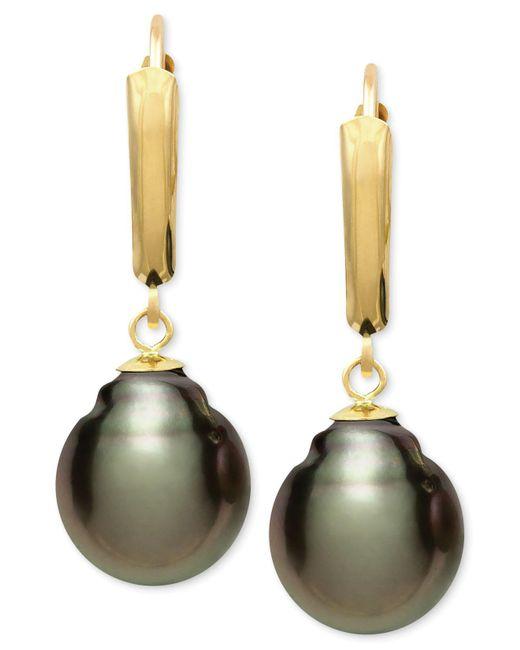 Macy's - Multicolor Tahitian Pearl (10mm) Leverback Earrings In 14k Gold - Lyst