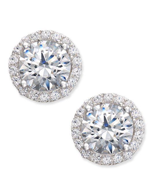 Arabella - Metallic Swarovski Zirconia Halo Stud Earrings In Sterling Silver - Lyst