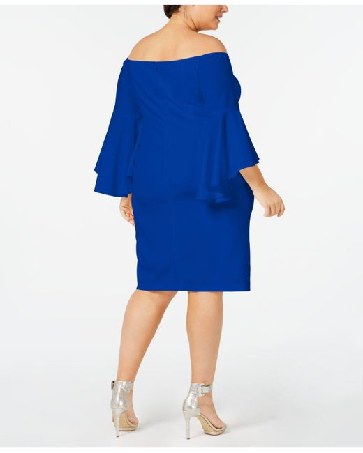 bbd9bd6a8e983 ... Calvin Klein - Blue Plus Size Off-the-shoulder Crepe Dress - Lyst ...