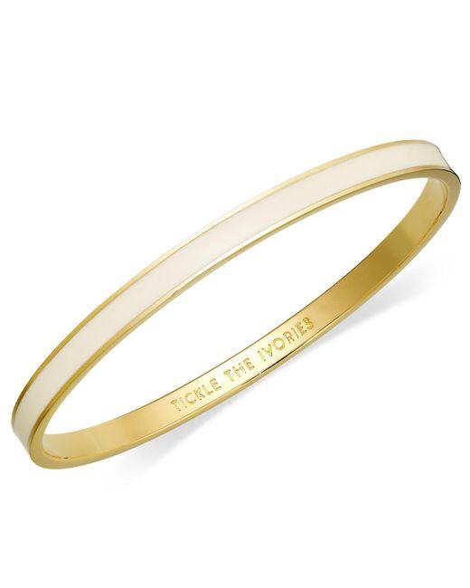 Kate Spade - Metallic Bracelet, 12k Gold-plated Cream Enamel Tickle The Ivories Idiom Bangle Bracelet - Lyst