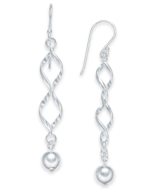 Giani Bernini - Metallic Twisted Ball Drop Earrings In Sterling Silver, Created For Macy's - Lyst