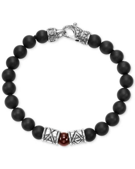 Scott Kay - Metallic Men's Onyx (8mm) & Red Agate (8mm) Bead Bracelet In Sterling Silver for Men - Lyst