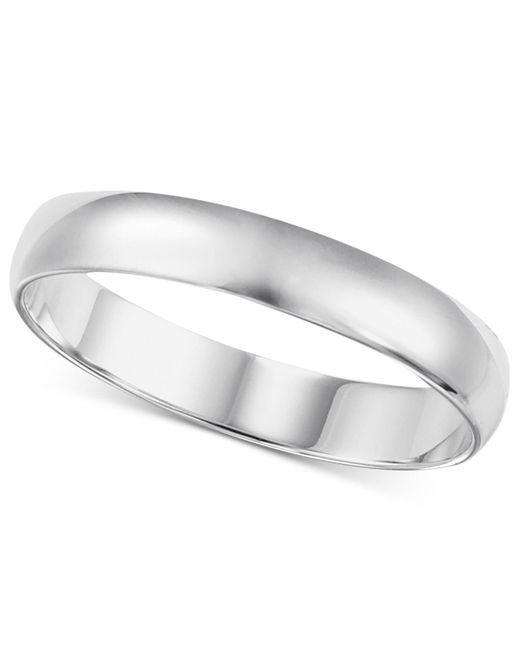 Macy's | Metallic Wedding Band (4mm) In 14k White Gold for Men | Lyst