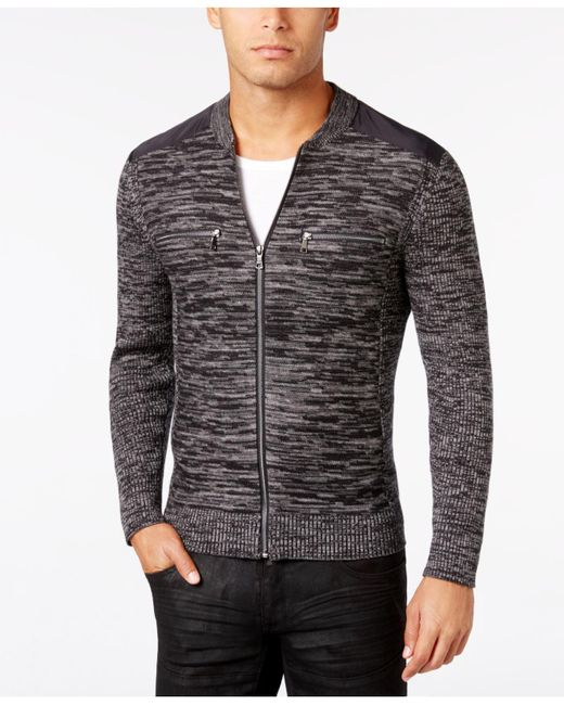 INC International Concepts | Black Men's Manchester Heathered Mixed Media Sweater, Only At Macy's for Men | Lyst