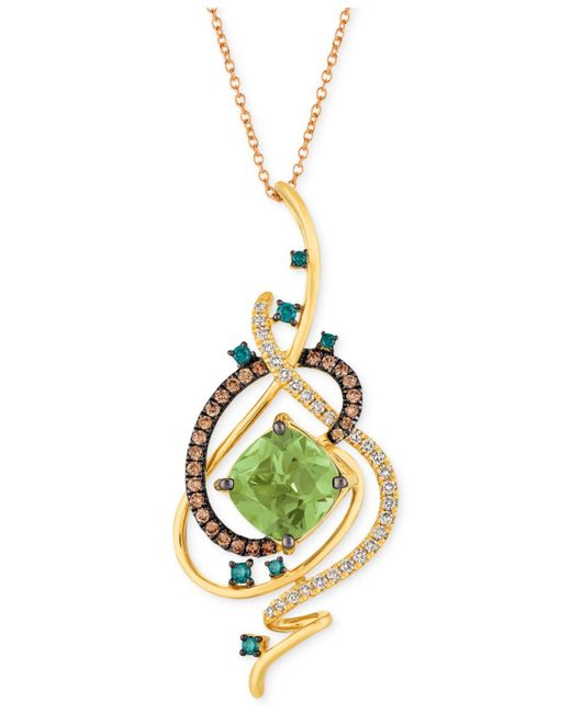 "Le Vian - Metallic Exotics® Crazy Collection® Mint Julep Quartztm (3-1/4 Ct. T.w.) & Diamond (3/4 Ct. T.w.) 18"" Pendant Necklace In 14k Gold - Lyst"