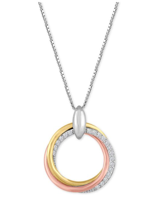 Macy's - Metallic Diamond Weave Tri-color Circle Pendant Necklace (1/10 Ct. T.w.) In Sterling Silver And 14k Gold-plate - Lyst