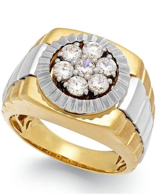 Macy's   Metallic Men's Diamond Two-tone Ring In 10k Gold (1 Ct. T.w.) for Men   Lyst