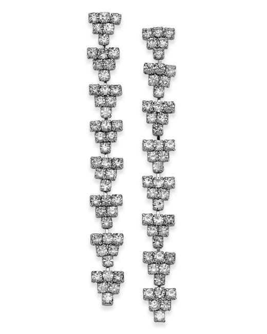 INC International Concepts - Metallic Silver-tone Crystal Geo Drop Earrings - Lyst