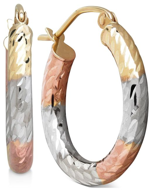 Macy's - Multicolor Tri-tone Textured Hoop Earrings In 10k Gold, 3/4 Inch - Lyst