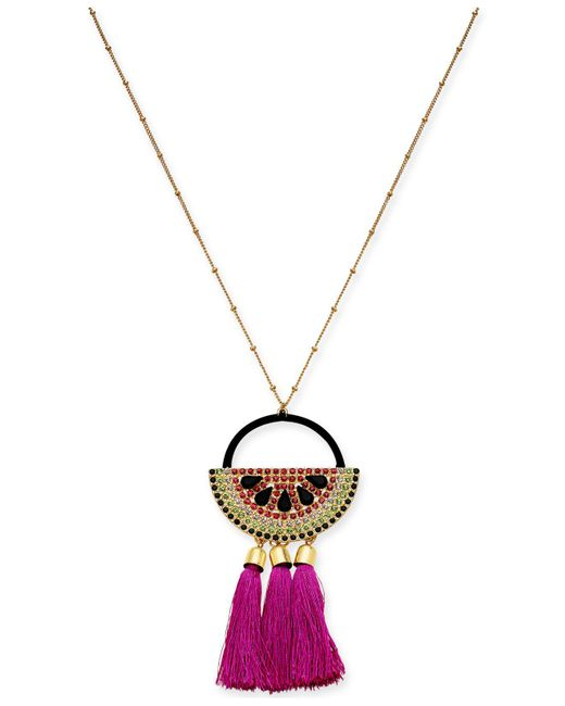 "INC International Concepts - Pink I.n.c. Gold-tone Multi-pavé & Stone Watermelon Tassel Pendant Necklace, 30"" + 3"" Extender, Created For Macy's - Lyst"