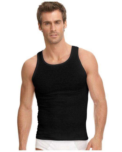 Jockey Black Underwear, Classic Ribbed Tagless Tank 3 Pack for men