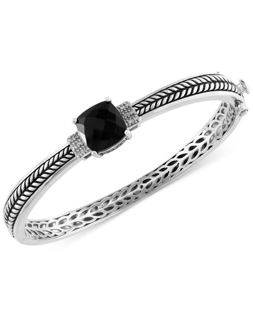 Effy Collection | Metallic Onyx (4-1/5 Ct. T.w.) And Diamond Accent Bangle Bracelet In Sterling Silver | Lyst