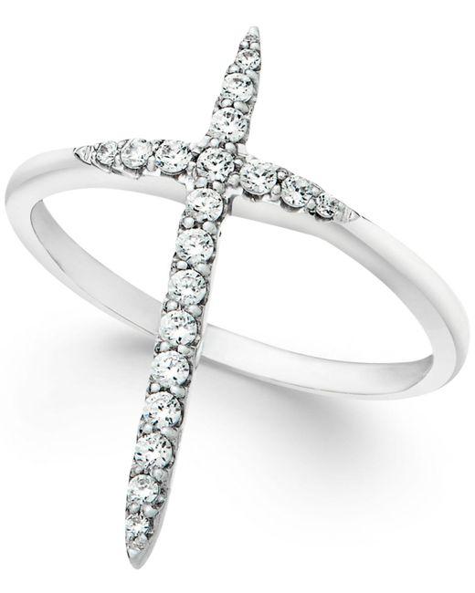 Macy's - Metallic Diamond Extended Cross Ring In 10k White Gold (1/4 Ct. T.w) - Lyst