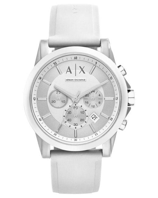 Armani Exchange - Unisex Chronograph White Silicone Strap Watch 44mm Ax1325 - Lyst