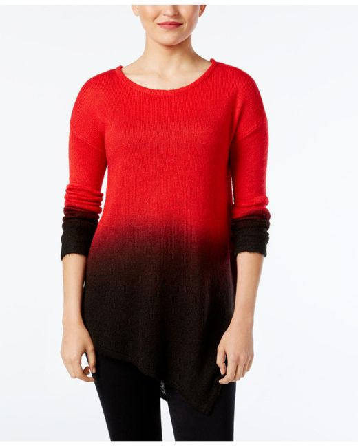 Vince Camuto | Red Dip-dyed Asymmertical-hem Sweater | Lyst